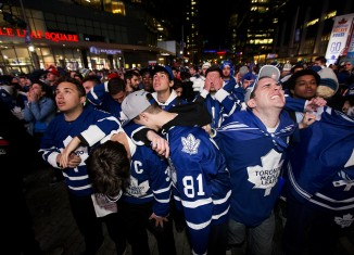 Maple Leaf fans at Maple Leaf Square