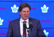 Toronto Maple Leafs head coach Mike Babcock post game media address